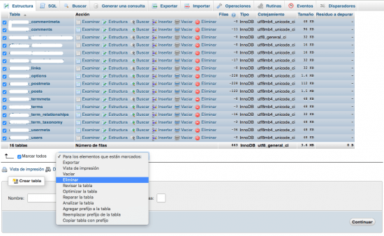 eliminar tablas base de datos nueva