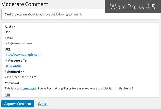 email moderación comentarios WordPress 4.5