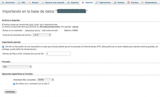 importar base de datos wordpress