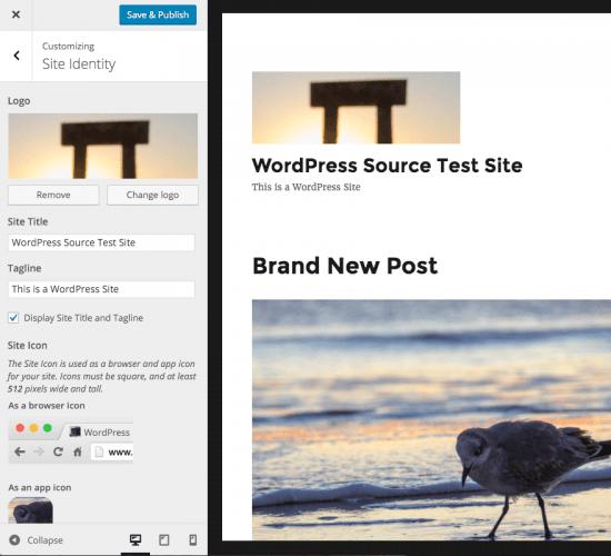 logo en personalizador WordPress 4.5