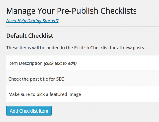 personalizar lista de comprobación antes de publicar