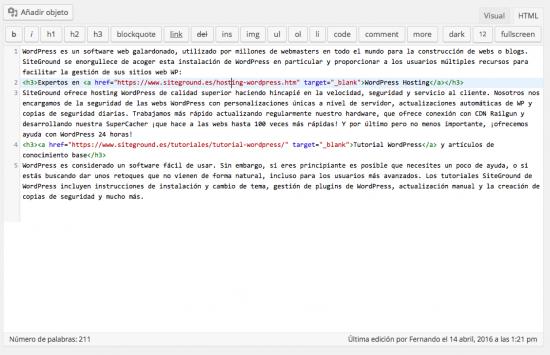 editor html WordPress con sintaxis