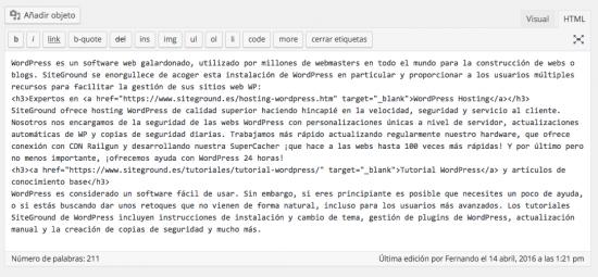 editor html wordpress