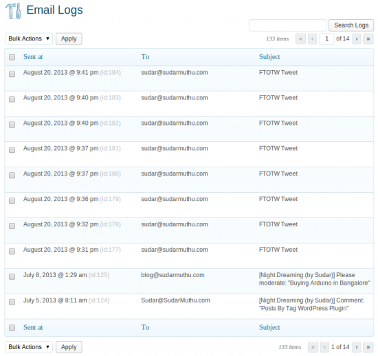 email logs WordPress