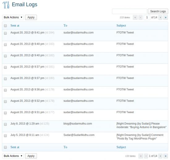 email logs WordPress
