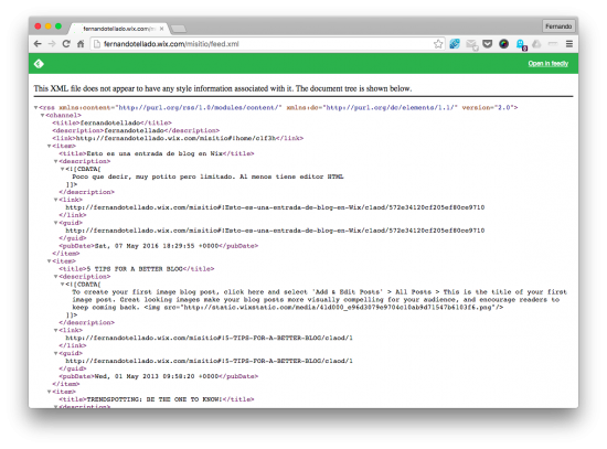 feed xml web wix