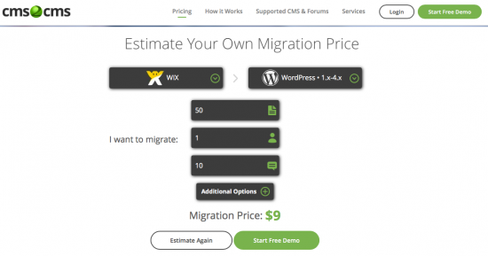 migrar de wix a WordPress con cms2cms