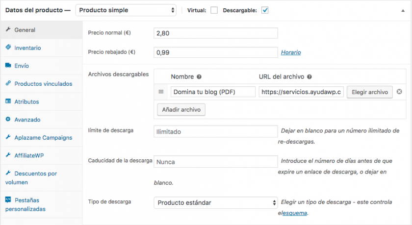 crear producto descargable woocommerce
