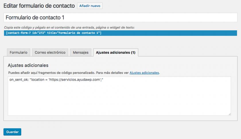 redirección tras mandar formulario contact form 7