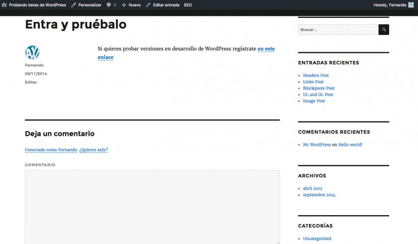 Interfaz del sitio tras el cambio de idioma de administración