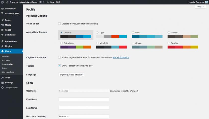 Cambio de idioma de administración por usuario en WordPress