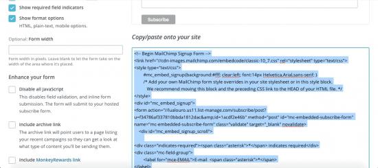 Código de MailChimp para Divi