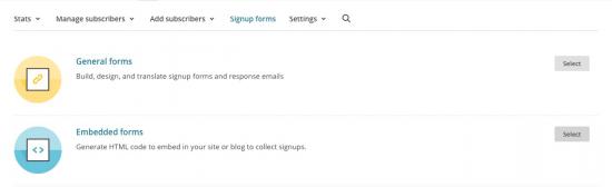 Embedded form en MailChimp
