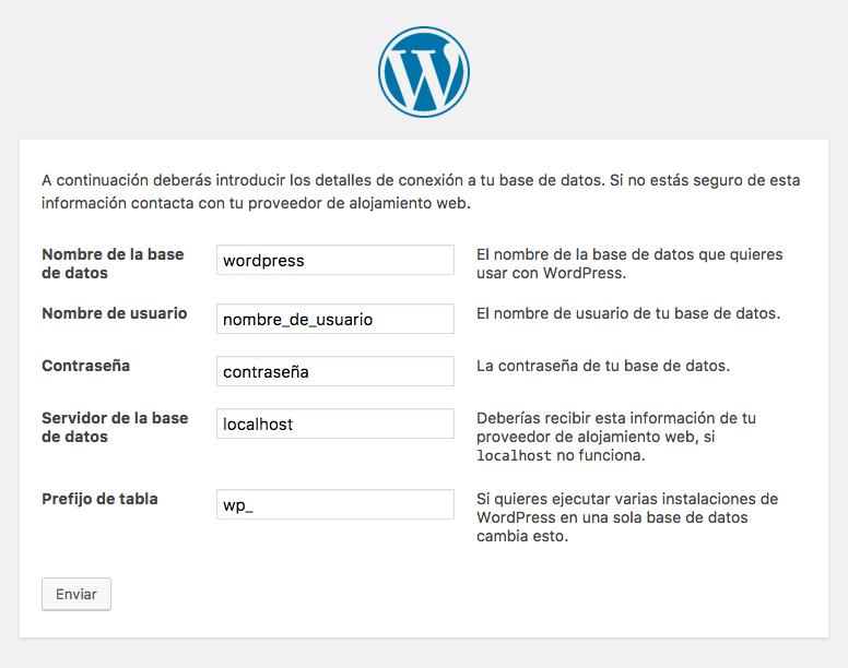 pantalla instalación WordPress información base de datos