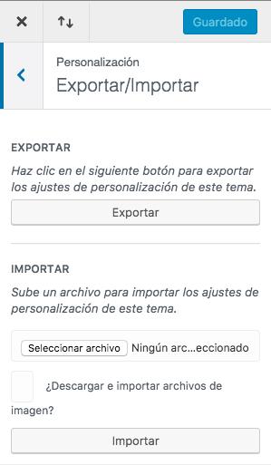 exportar ajustes del personalizador
