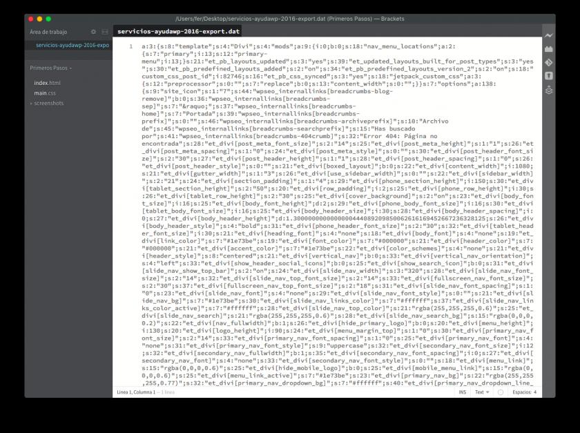 codigo ajustes exportados del personalizador