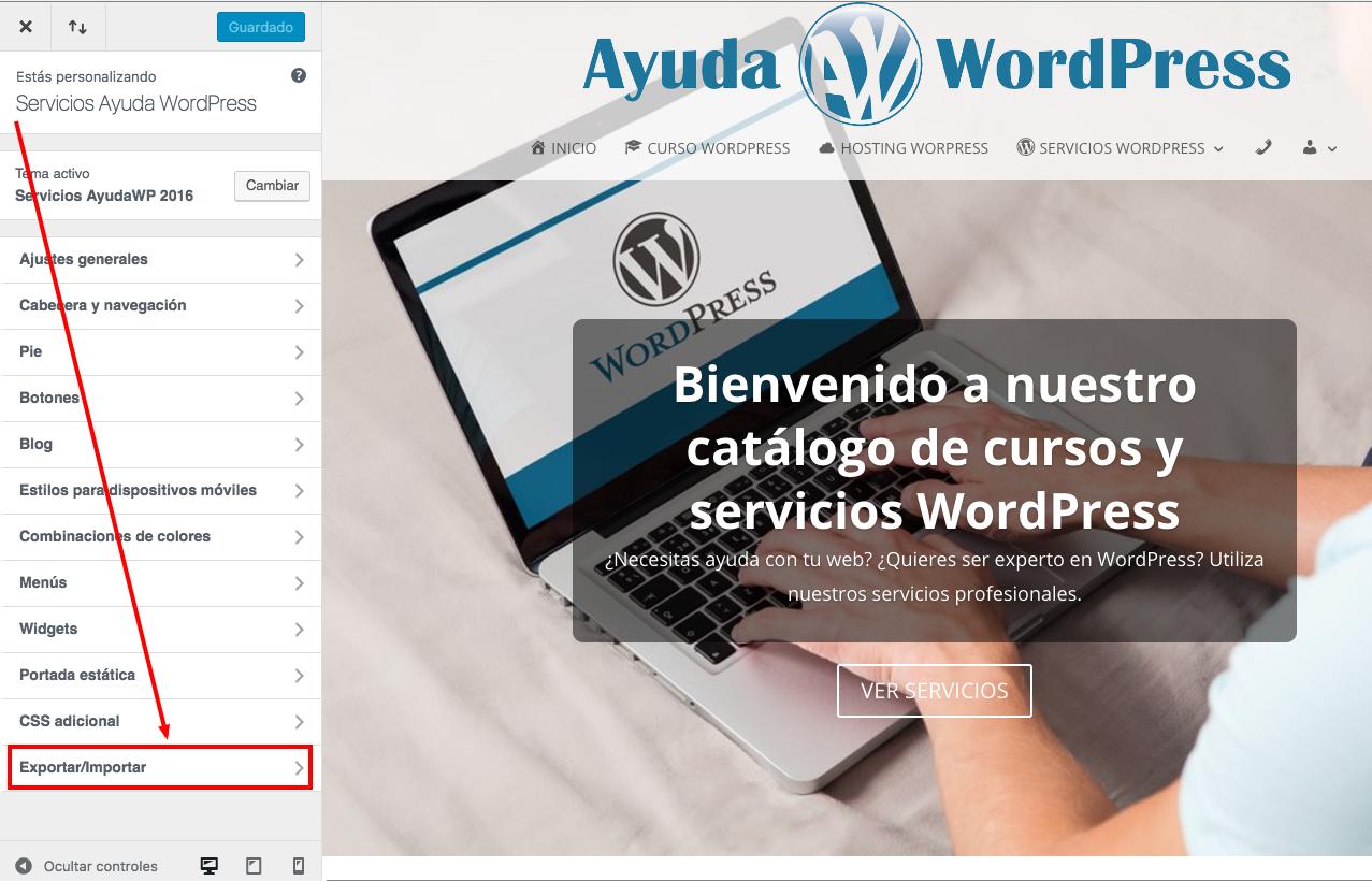 Exportar los ajustes del personalizador - Ayuda WordPress