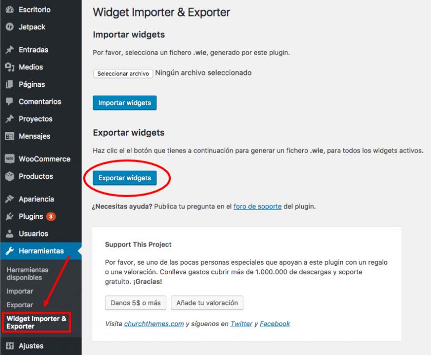 Exportar e importar widgets, lo que le falta a WordPress • Ayuda ...
