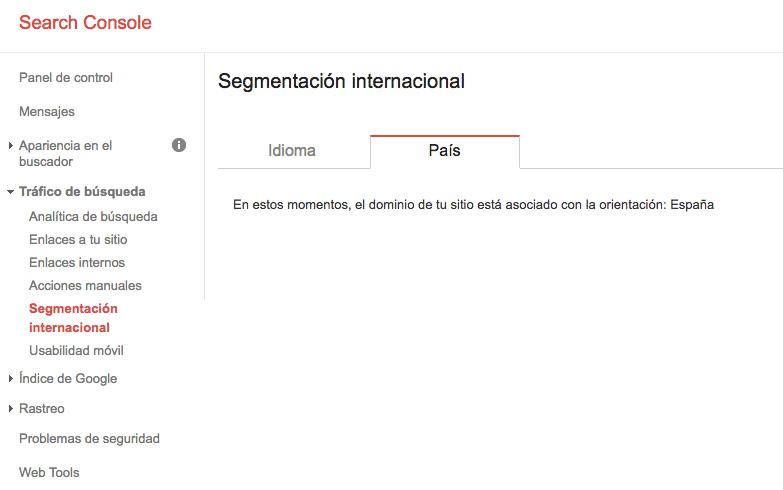 segmentación internacional google search console