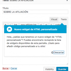 WordPress 4.8.1 recupera el widget HTML