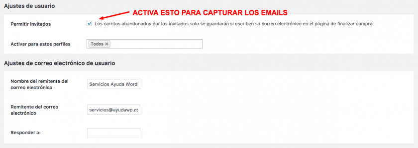 capturar emails carritos abandonados woocommerce