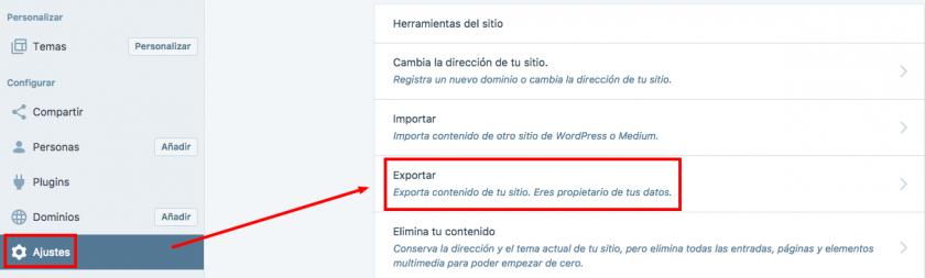 exportar contenido wordpress.com 1