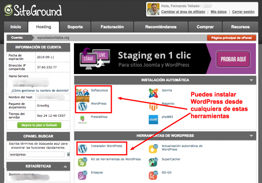 Paso 1 para instalar WordPress en tu hosting