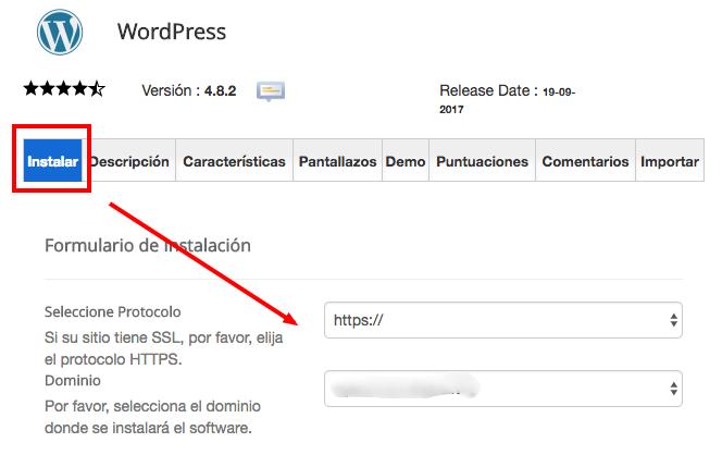 Paso 2 para instalar WordPress en tu hosting