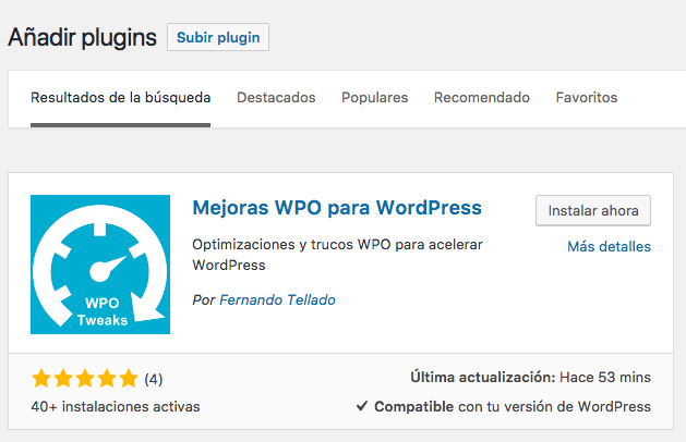 instalar plugin wpo tweaks