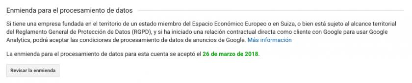 enmienda procesamiento datos google aceptada