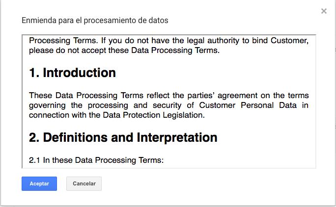 enmienda procesamiento datos google