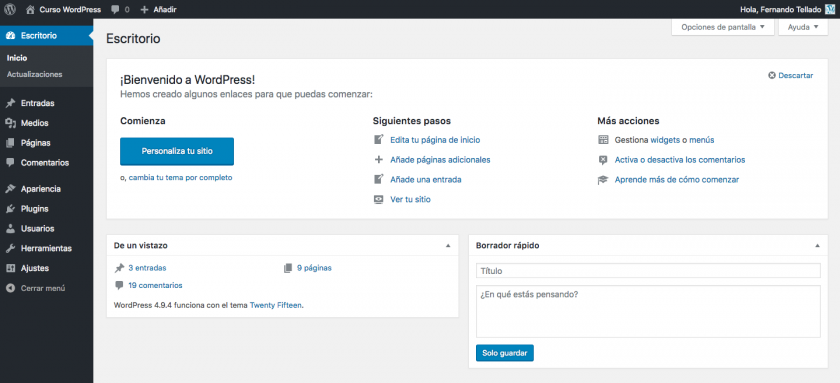 escritorio de instalación estandar wordpress