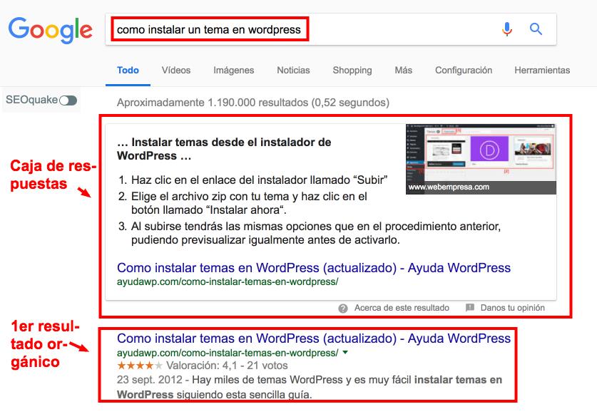 Cómo aparecer en las cajas de respuestas de Google • Ayuda WordPress