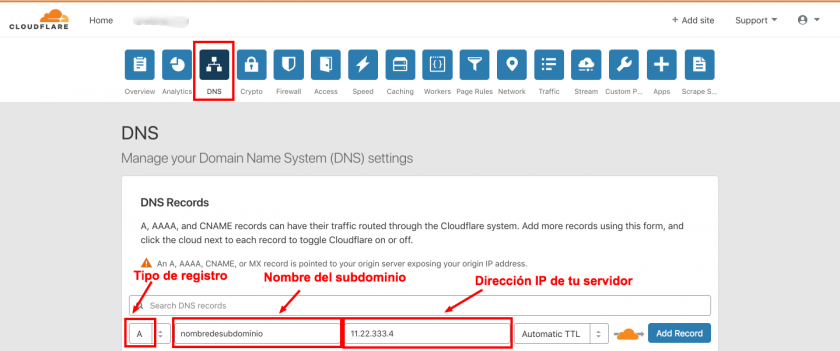 agregar subdominio cloudflare