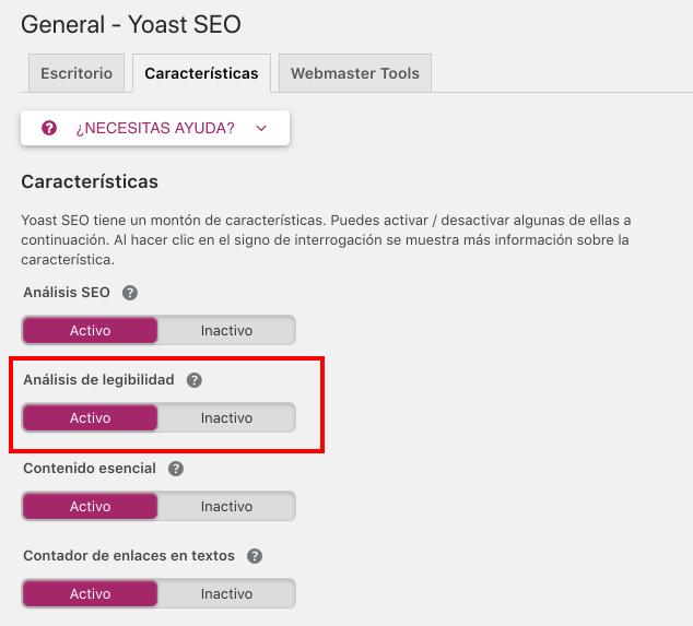 activar analisis de legibilidad yoast seo