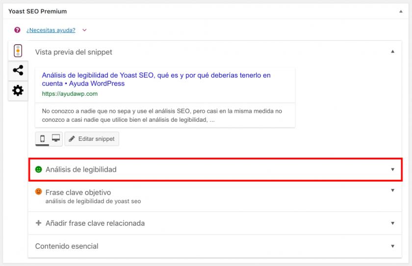 analisis de legibilidad de yoast seo en editor clasico