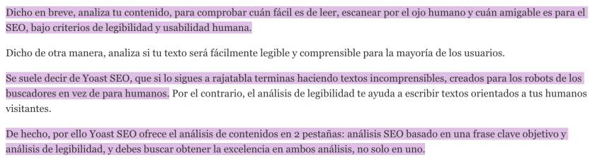 deteccion de frases largas del analisis de legibilidad de yoast seo