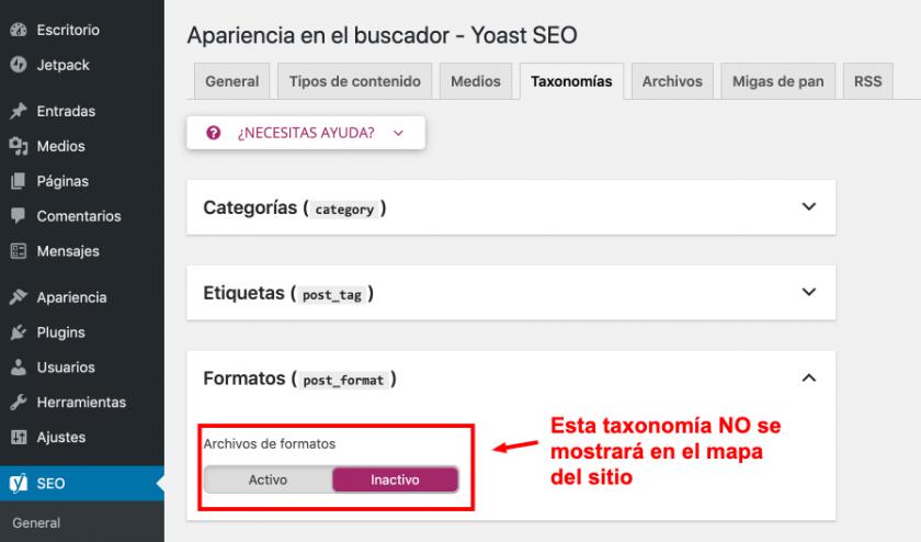 taxonomías sitemap yoast