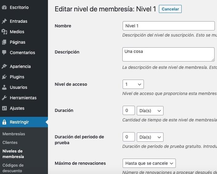 Niveles de membresía en Restrict Content Pro