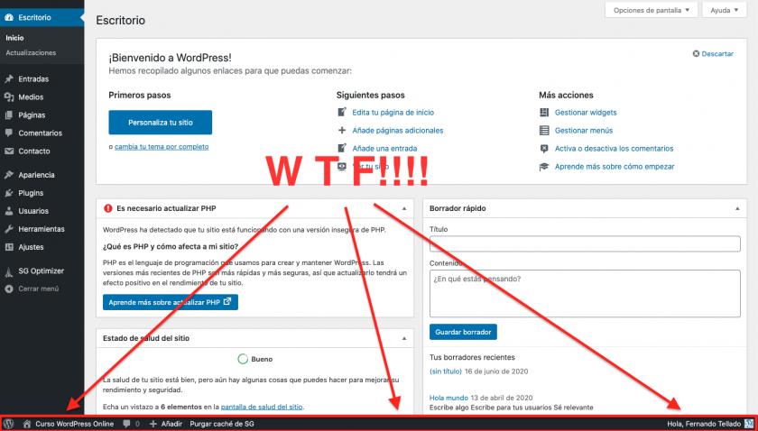 Deseja mover a barra de ferramentas de administração do WordPress para baixo? • ajuda do WordPress 7