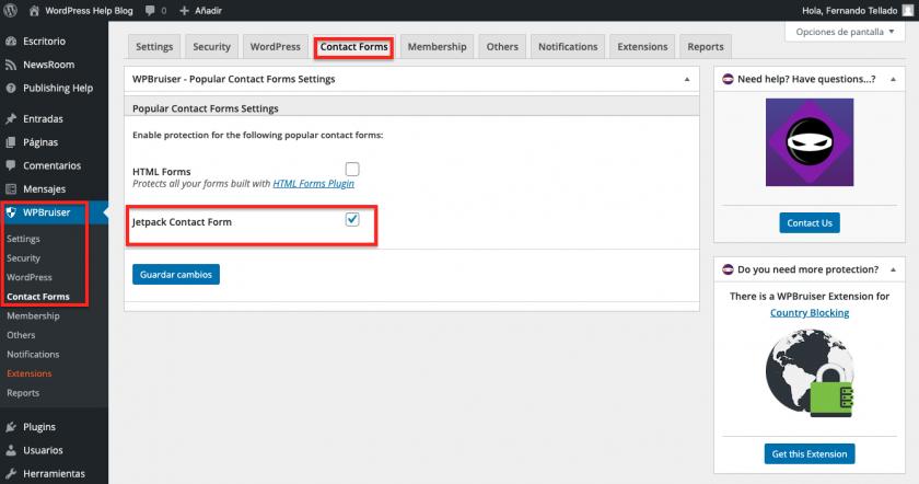Como evitar spam nos formulários de contato do JetPack • Ajuda do WordPress 9