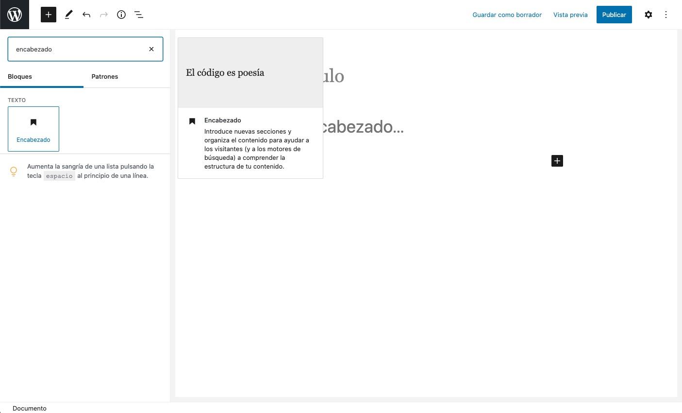insertar bloque de encabezado en el editor de WordPress