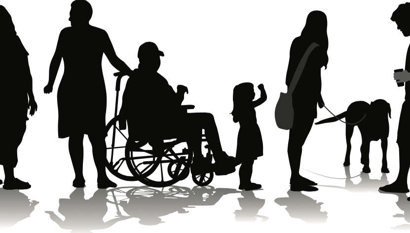 Sombras de personas con problemas de accesibilidad