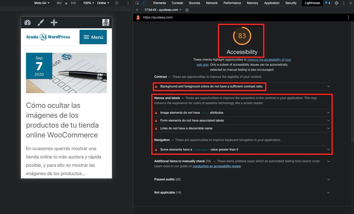 resultados accesibilidad en herramienta lighthouse del navegador Chrome