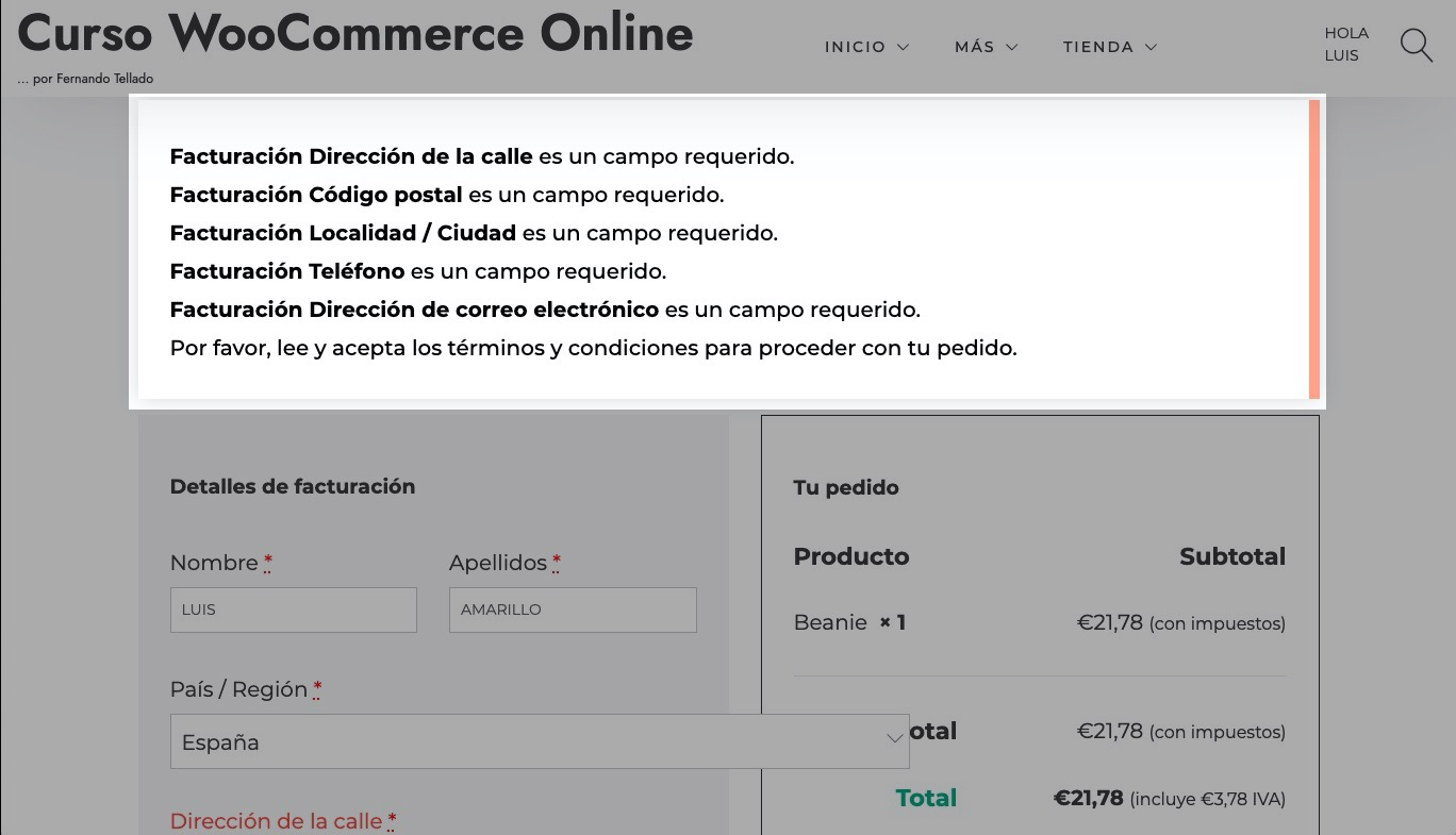 WooCommerce: Cómo mostrar los errores en el pago junto al campo con error