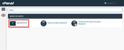 Acceder phpMyAdmin CPanel