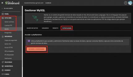 Acceder phpMyAdmin SiteGround
