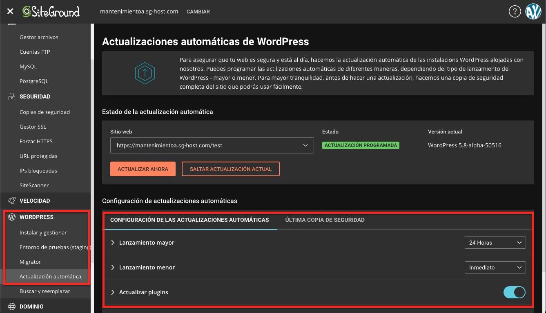 actualizaciones automáticas WordPress en SiteGround