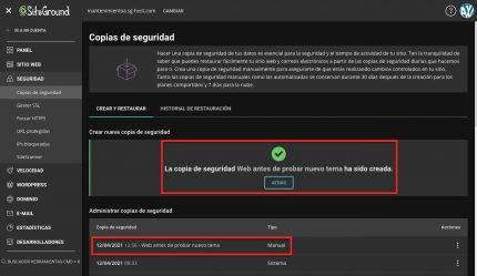 backup adicional siteground creado