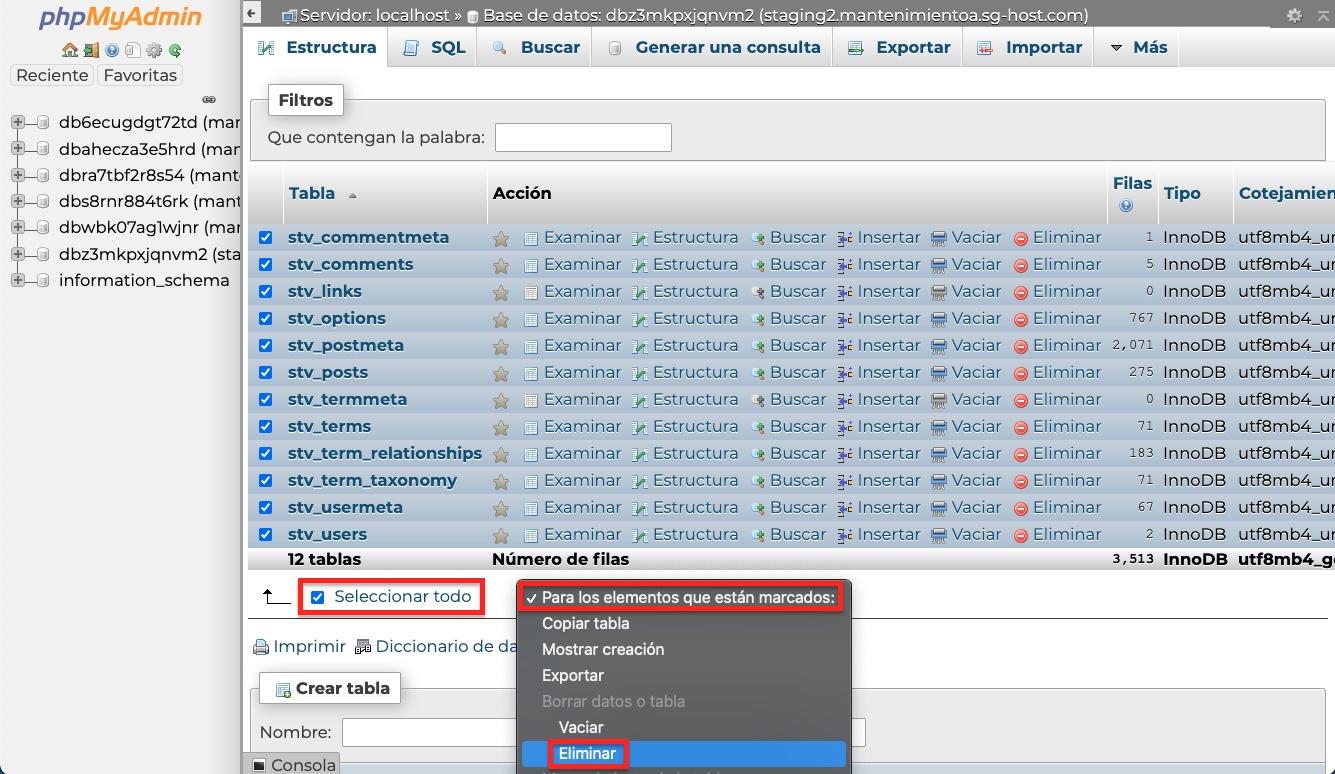 eliminar tablas base datos WordPress phpmyadmin